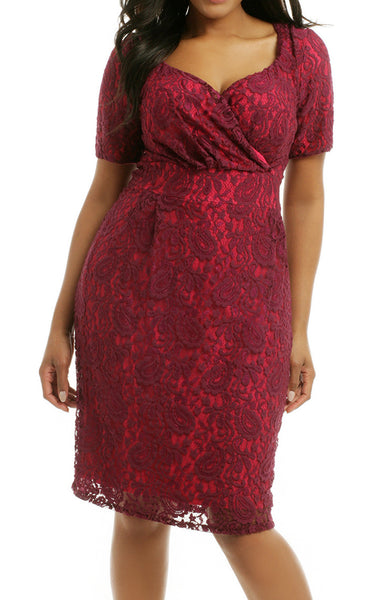 MACloth Short Sleeves Lace Midi Cocktail Dress Burgundy Plus Size Formal Gown