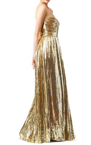 MACloth Strapless Sweetheart Long Sequin Prom Dress Gold Evening Formal Gown