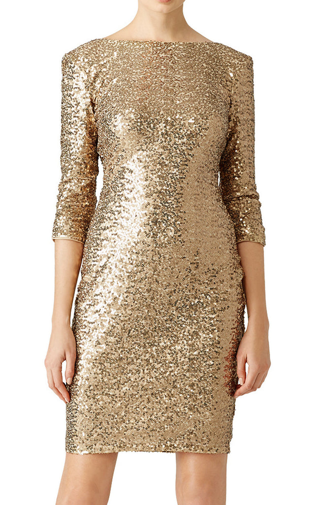 MACloth 3/4 Sleeves Sequin Cocktail Dress Gold Short Mother of the Brides Dress