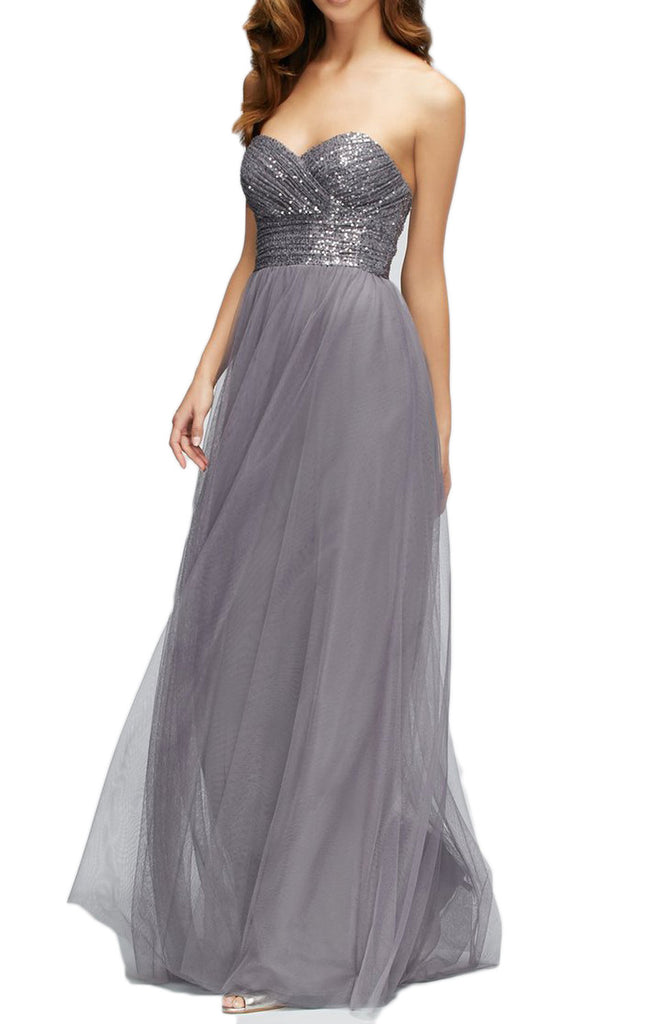 MACLoth Strapless Sweetheart Sequin Tulle Long Bridesmaid Dress Gray Formal Gown