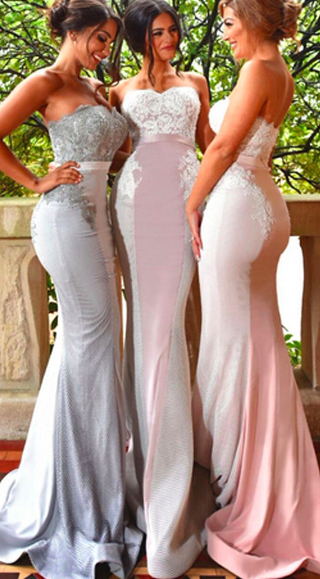MACloth Mermaid Strapless Lace Jersey Long Prom Dress Sexy Formal Gown