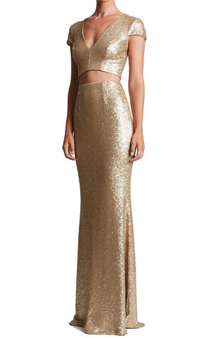 MACloth Cap Sleeve Two Piece Prom Dress long Sequin Formal Evening Gown