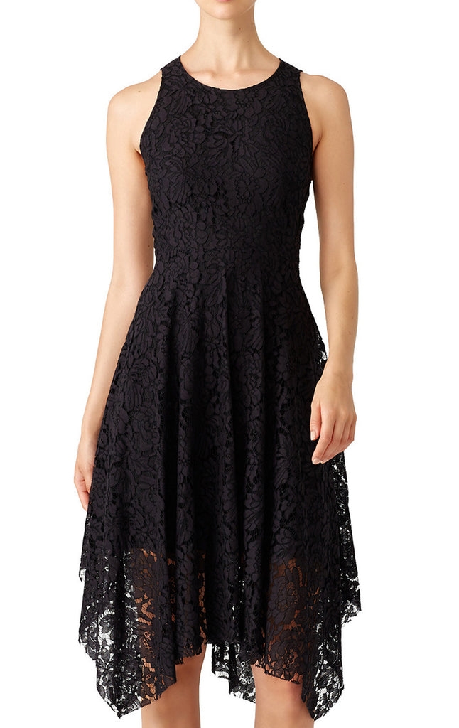 MACloth Straps O Neck Hi-Lo Lace Cocktail Formal Gown Little Black Dress