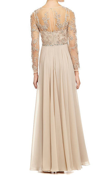 MACloth Long Sleeves Lace Chiffon Evening Gown Champagne Mother of the Brides Dress