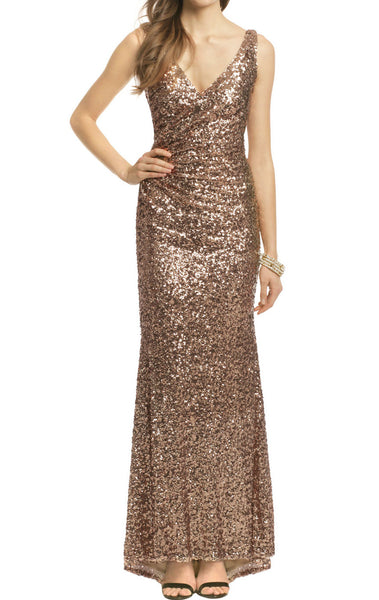MACloth Mermaid Straps V Neck Sequin Evening Gown Brown Bridesmaid Dress