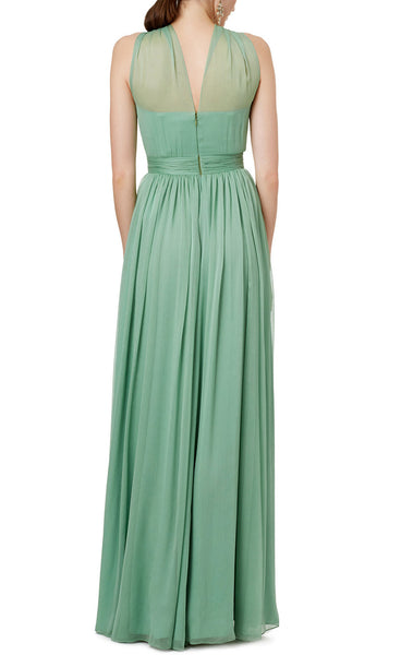 MACloth Halter Sexy Chiffon Long Prom Dress Sage Formal Party Dress