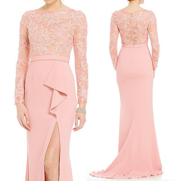 MACloth Mermaid Long Sleeve Evening Gown Blush Pink Mother of the Brides Dress