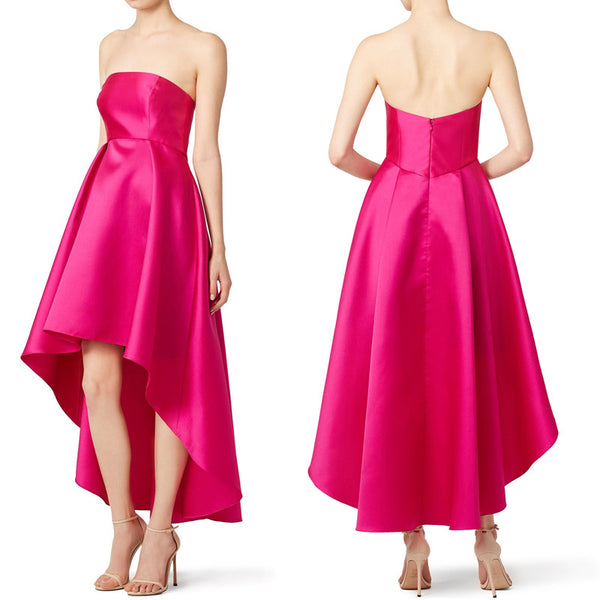 MACloth Strapless Satin Hi-lo Prom Gown Fuchsia Cocktail Dress