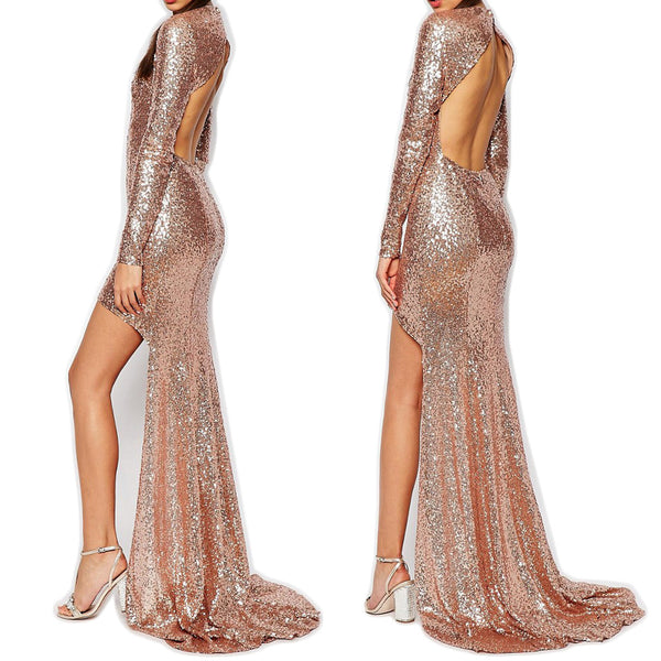 MACloth Long Sleeves Sequin Hi-Lo Prom Dress Rose Gold Evening Formal Gown