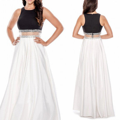 MACloth Two Piece Long Prom Dress Black White Satin Formal Evening Gown