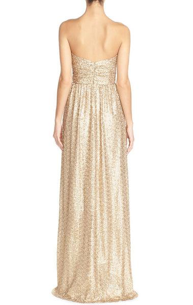MACloth Strapless Sweetheart Sequin Long Bridesmaid Dress Gold Evening Gown