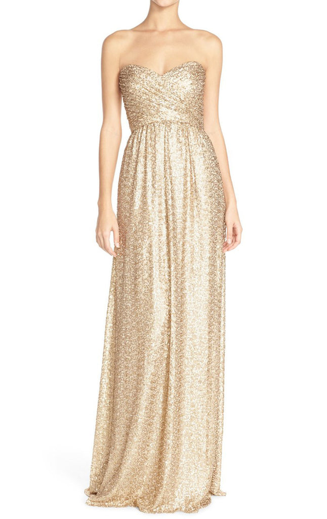 MACloth Strapless Sweetheart Sequin Long Bridesmaid Dress Gold Evening
