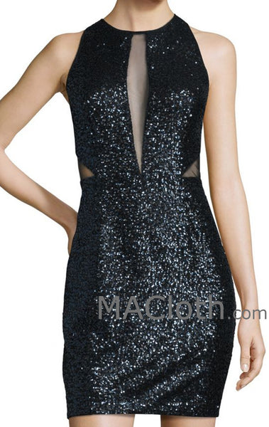 MACloth Women Straps Cut out Sequin Black Mini Cocktail Dress Formal Evening Gown