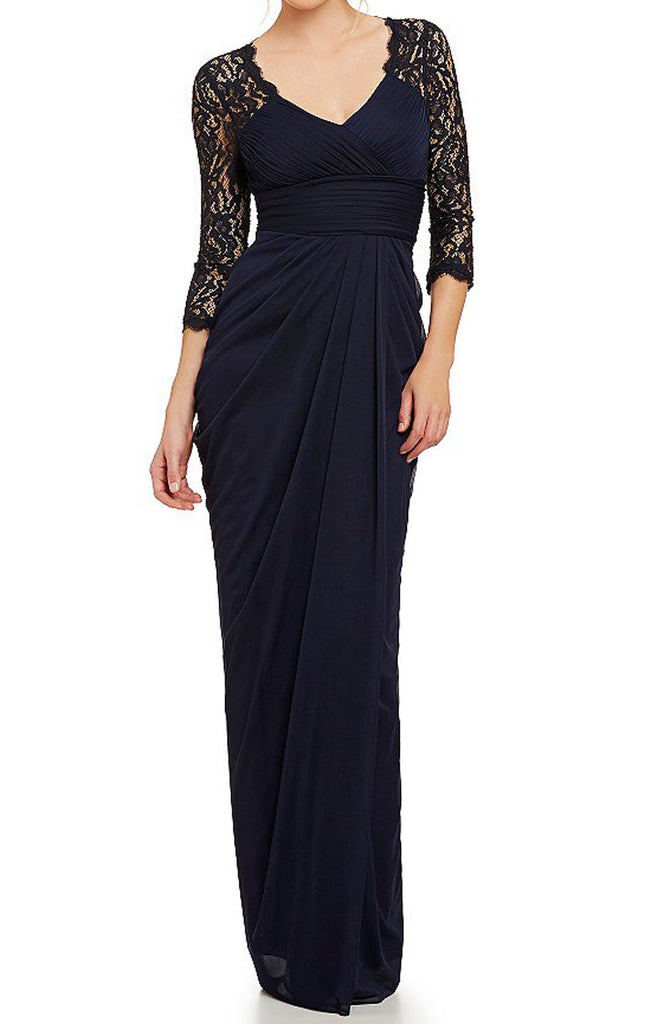 MACloth Half Sleeves Mother of the Brides Dress Dark Navy Evening Gown