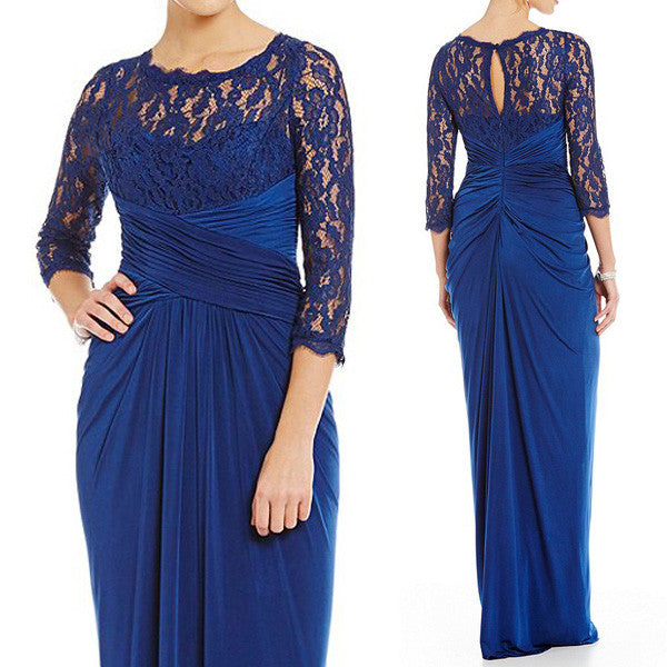 MACloth 3/4 Sleeves Lace Chiffon Evening Gown Royal Blue Mother of the Brides Dress
