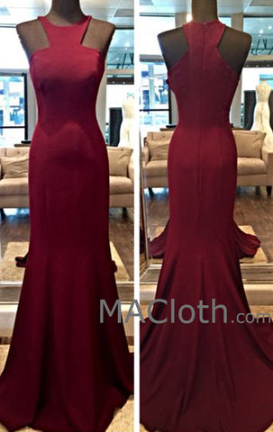 MACloth Straps O Neck Jersey Burgundy Prom Dress Evening Gown Wedding Party Formal Gown with Train