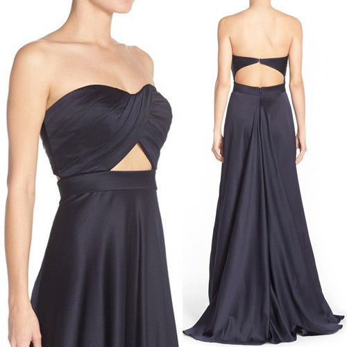 MACloth Strapless Sweetheart Long Prom Dress Dark Navy Formal Gown