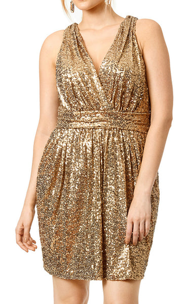 MACloth Straps V Neck Sequin Gold Short Bridesmaid Dress Plus Size Cocktail Formal Gown