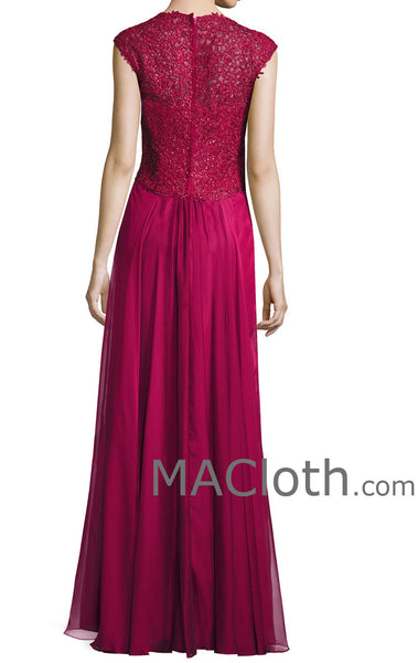 MACloth Women Straps Sweetheart Lace Chiffon Long Fuchsia Mother of the Brides Dress Evening Gown