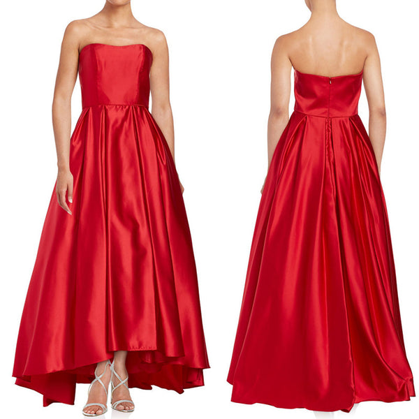 MACloth Strapless Ball Gown Satin Hi-Lo Prom Dress Red Formal Gown