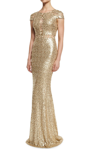 MACloth Cap Sleeves Sequin Gold Long Evening Gown Long Mother of the Brides Dress