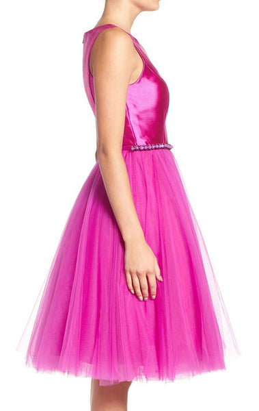 MACloth Straps Taffeta Tulle Short Prom Dress Fuchsia Homecoming Formal Gown