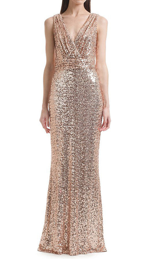 MACloth Straps V Neck Sequin Bridesmaid Dress Rose Gold Formal Evening Gown