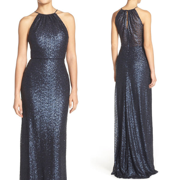 MACloth Halter Sequin Long Bridesmaid Dress Dark Navy Formal Evening Gown