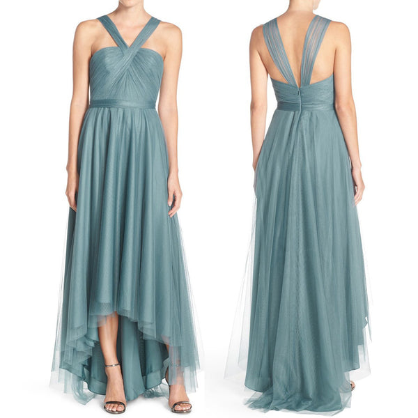 MACloth Straps Tulle Hi-Lo Bridesmaid Dress Turquoise Prom Dress