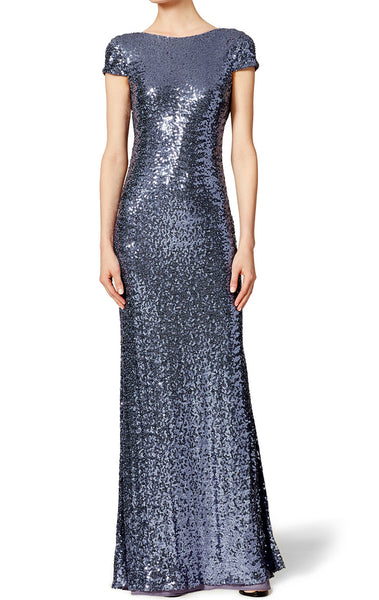 MACloth Cap Sleeves Long Sequin Evening Gown Dark Navy Bridesmaid Dress