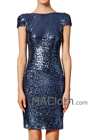 MACloth Cap Sleeves Short Sequin Dark Navy Bridesmaid Dress Cocktail Formal Gown