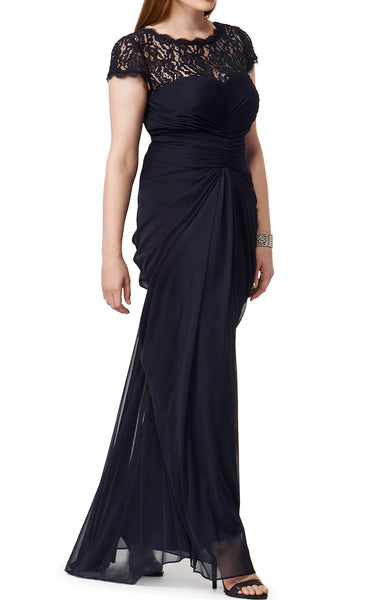 MACloth Cap Sleeves Lace Chiffon Long Evening Gown Black Mother of the Brides Dress