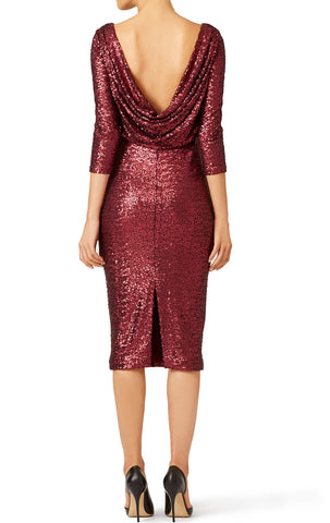 MACloth Half Sleeves Sequin Short Cocktail Dress Burgundy Mother of the Brides Dress