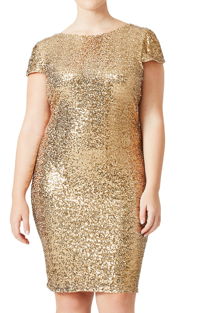 MACloth Cap Sleeves Sequin Short Bridesmaid Dress Gold Cocktail Formal Gown