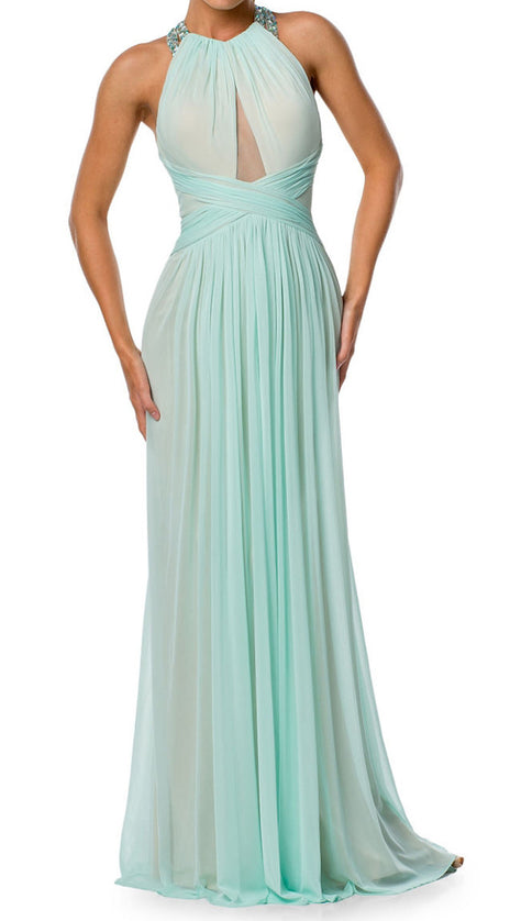 MACloth Halter Crystals Chiffon Long Prom Dress Aqua Formal Evening Gown