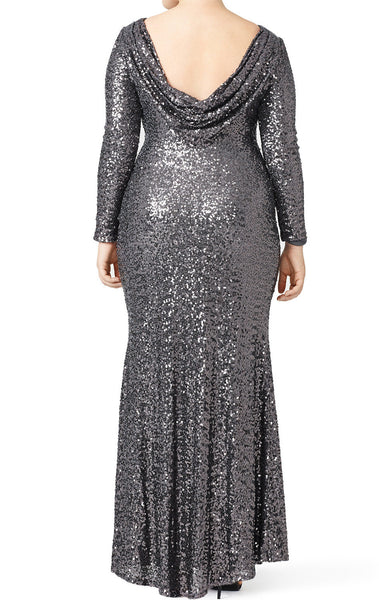 MACloth Long Sleeves Sequin Long Plus Size Evening Gown Gray Bridesmaid Dress