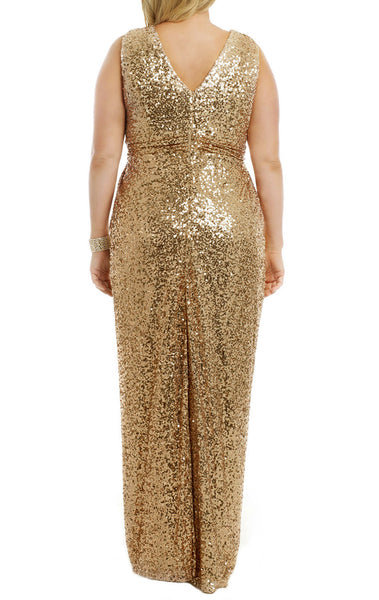 MACloth Straps V Neck Sequin Gold Long Bridesmaid Dress Plus Size Formal Evening Gown