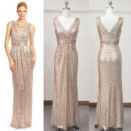 Macloth Straps V Neck Sequin Gold Long Bridesmaid Dress Plus Size Form