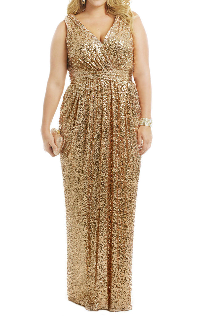 5fddd3ce937 MACloth Straps V Neck Sequin Gold Long Bridesmaid Dress Plus Size Form