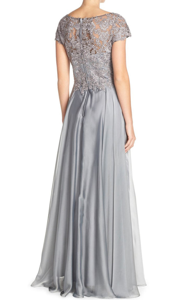 MACloth Cap Sleeves Lace Chiffon Long Evening Gown Silver Mother of th 4c6df2542