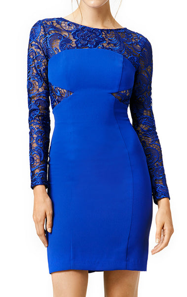 MACloth Long Sleeves Lace Jersey Cocktail Dress Royal Blue Party Dress