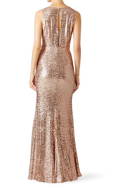 MACloth Mermaid Straps Sequin Long Bridesmaid Dress Rose Gold Formal Evening Gown