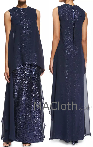 MACloth Women Straps Long Sequin Chiffon Dark Navy Formal Evening Gown