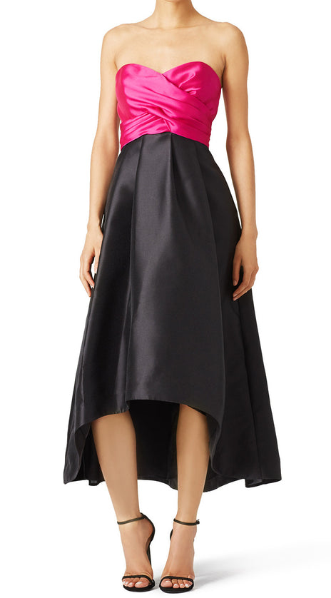 MACloth Strapless Satin Hi-Lo Prom Dress Fuchsia Cocktail Formal Gown