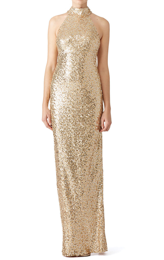 MACloth High Neck Sequin Long Prom Dress Gold Formal Evening Gown Bridesmaid Dress