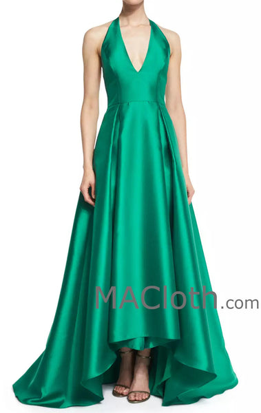 MACloth Women Halter Women A Line Satin Ball Gown V Neck Evening Dress