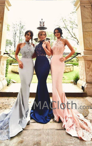MACloth Mermaid Halter Jersey Lace Royal Blue/Pink/Silver Evening Prom Gown Wedding Party Dress