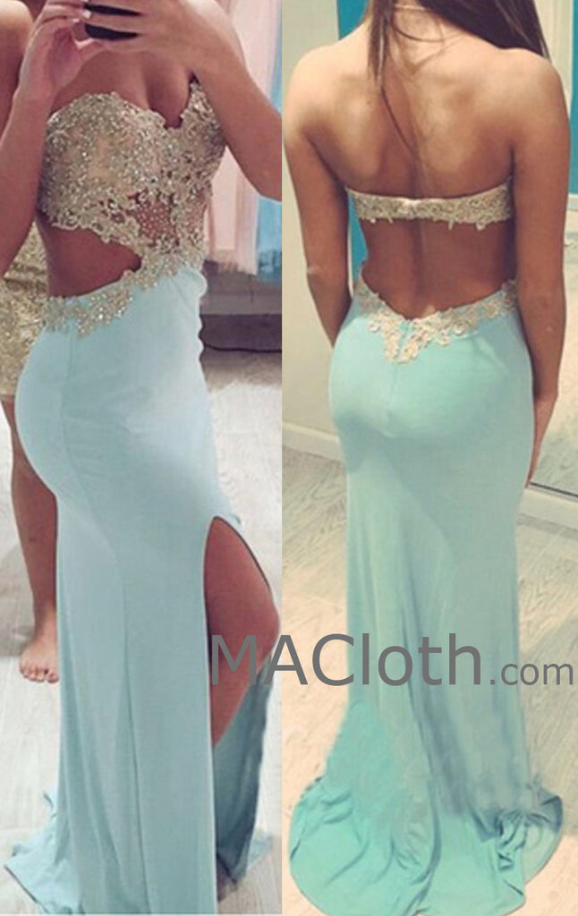 MAcloth Mermaid Strapless Sweetheart Long Jersey Lace Mint Evening Prom Gown Wedding Party Dress