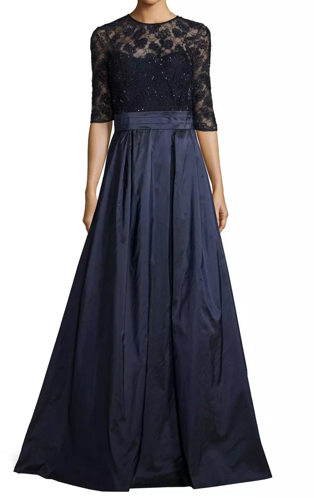 MACloth Women Half Sleeves Lace Taffeta Long Evening Gown Dark Navy Mother of the Brides Dress Evening Gown