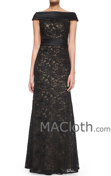 MACloth Women Off the Shoulder Mermaid Lace Long Evening Gown Black Formal Dress